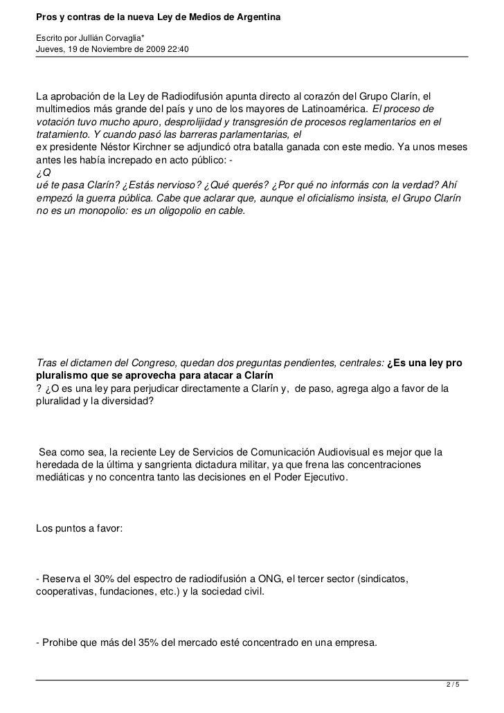 Pros y contras de la nueva ley de medios de argentina for Hormigon impreso pros y contras