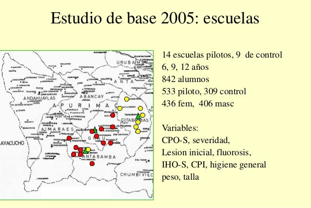 Estudio de base 2005: escuelas 14 escuelas pilotos, 9 de control 6, 9, 12 años 842 alumnos 533 piloto, 309 control 436 fem...