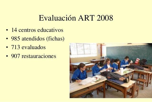 Evaluación ART 2008 • 14 centros educativos • 985 atendidos (fichas) • 713 evaluados • 907 restauraciones