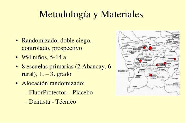 Metodología y Materiales • Randomizado, doble ciego, controlado, prospectivo • 954 niños, 5-14 a. • 8 escuelas primarias (...