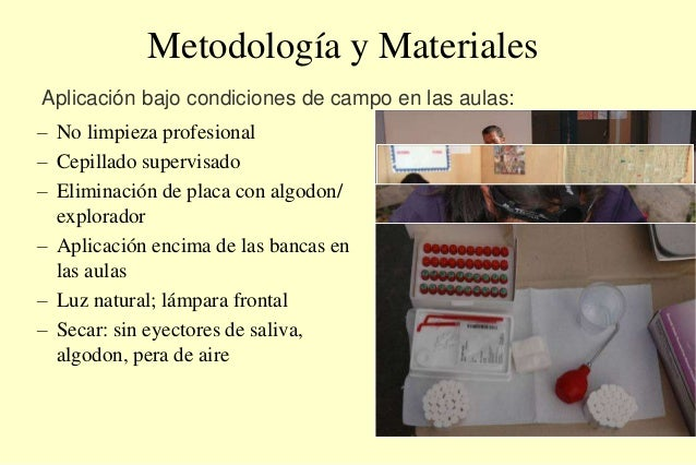 Metodología y Materiales – No limpieza profesional – Cepillado supervisado – Eliminación de placa con algodon/ explorador ...