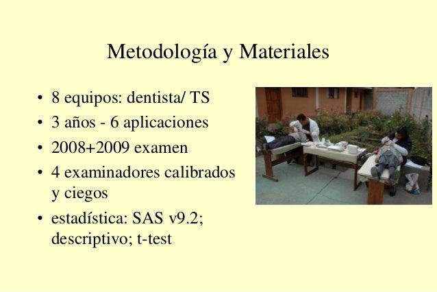 Metodología y Materiales • 8 equipos: dentista/ TS • 3 años - 6 aplicaciones • 2008+2009 examen • 4 examinadores calibrado...