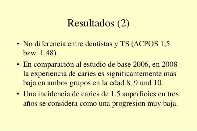 Resultados (2) • No diferencia entre dentistas y TS (ΔCPOS 1,5 bzw. 1,48). • En comparación al estudio de base 2006, en 20...