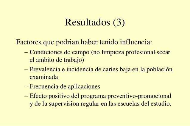 Resultados (3) Factores que podrian haber tenido influencia: – Condiciones de campo (no limpieza profesional secar el ambi...