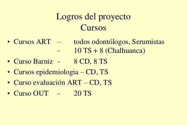 Logros del proyecto Cursos • Cursos ART – todos odontólogos, Serumistas - 10 TS + 8 (Chalhuanca) • Curso Barniz - 8 CD, 8 ...