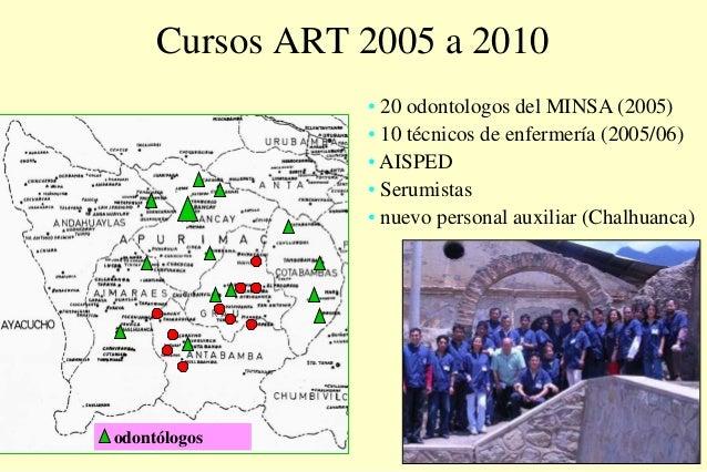Cursos ART 2005 a 2010 • 20 odontologos del MINSA (2005) • 10 técnicos de enfermería (2005/06) • AISPED • Serumistas • nue...
