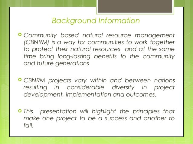 Community Based Natural Resources Management Programme
