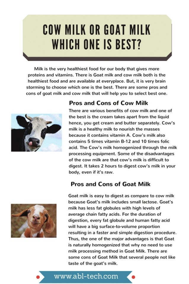 Pros And Cons Of Cow And Goat Milk