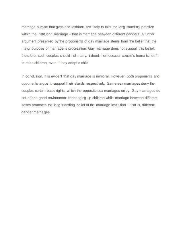 an essay on same sex marriages Free essay: the argument of same-sex marriage is an important one the question of legalization of same sex marriages is an issue in many of our states.