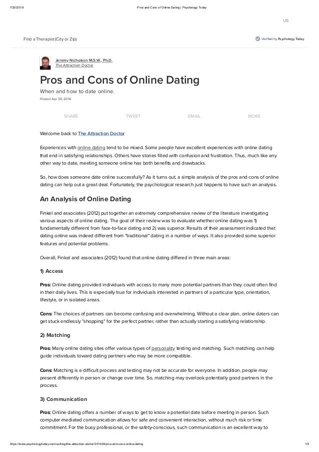 Pros and cons about dating