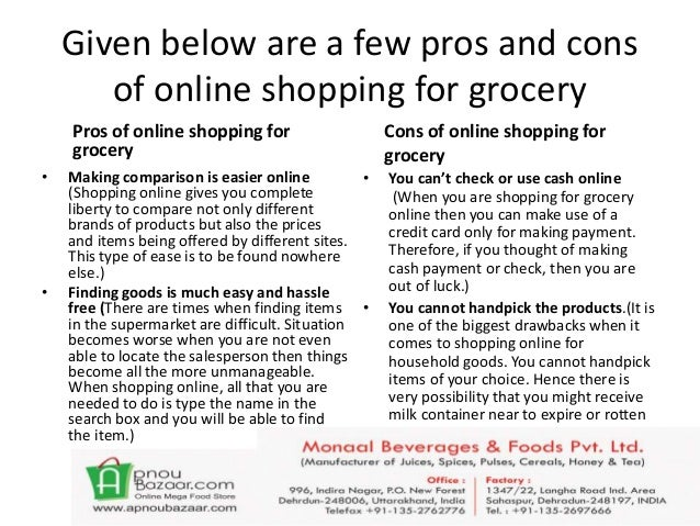 What are the pros and cons of online shopping