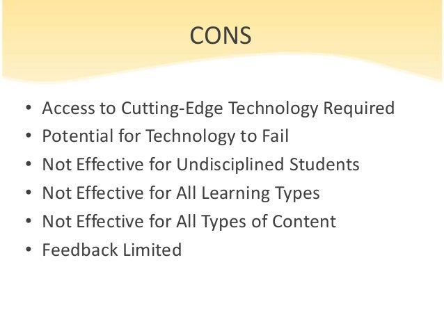 distance learning pros and cons