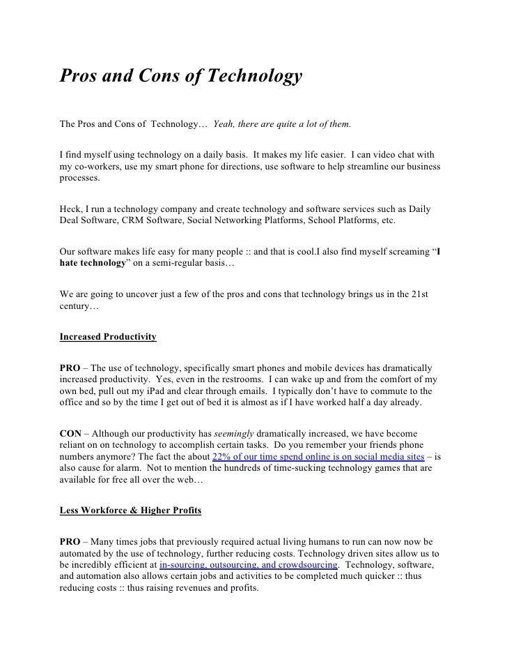 List of 7 Big Pros and Cons of Technology