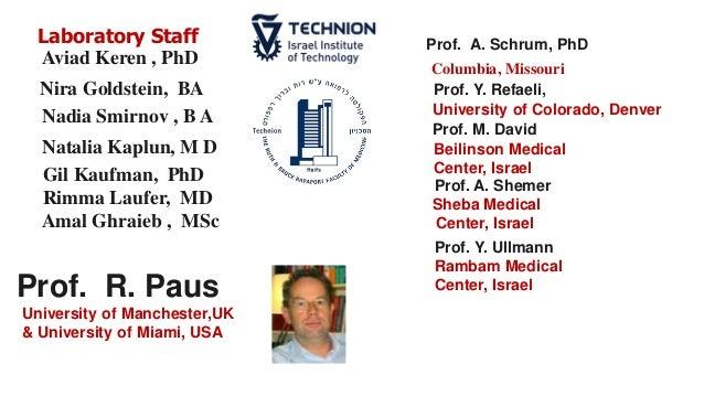Laboratory Staff Aviad Keren , PhD Nadia Smirnov , B A Natalia Kaplun, M D Gil Kaufman, PhD Rimma Laufer, MD Amal Ghraieb ...