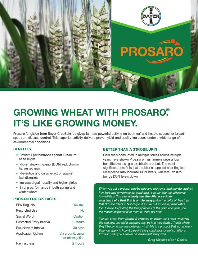 GROWING WHEAT WITH PROSARO.                          ®IT'S LIKE GROWING MONEY.Prosaro fungicide from Bayer CropScience giv...