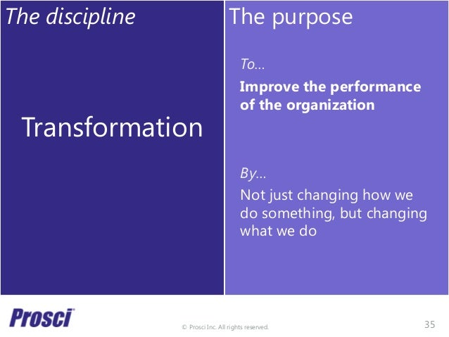 © Prosci Inc. All rights reserved. The discipline Transformation The purpose To… Improve the performance of the organizati...