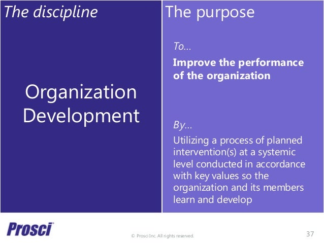 © Prosci Inc. All rights reserved. The discipline Organization Development The purpose To… Improve the performance of the ...