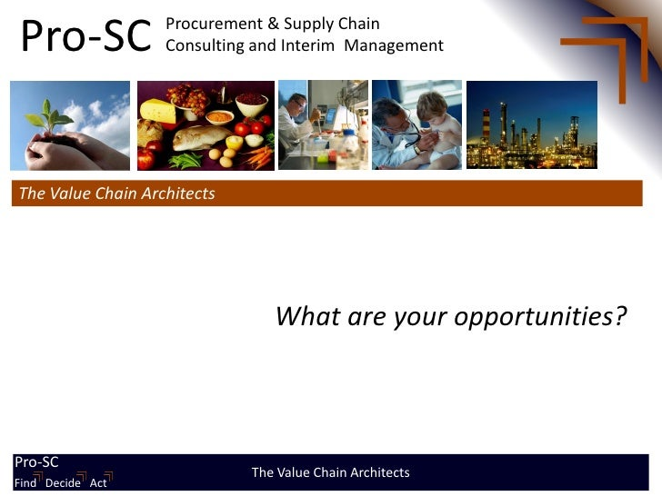 Pro-SC              Procurement & Supply Chain                    Consulting and Interim ManagementThe Value Chain Archite...