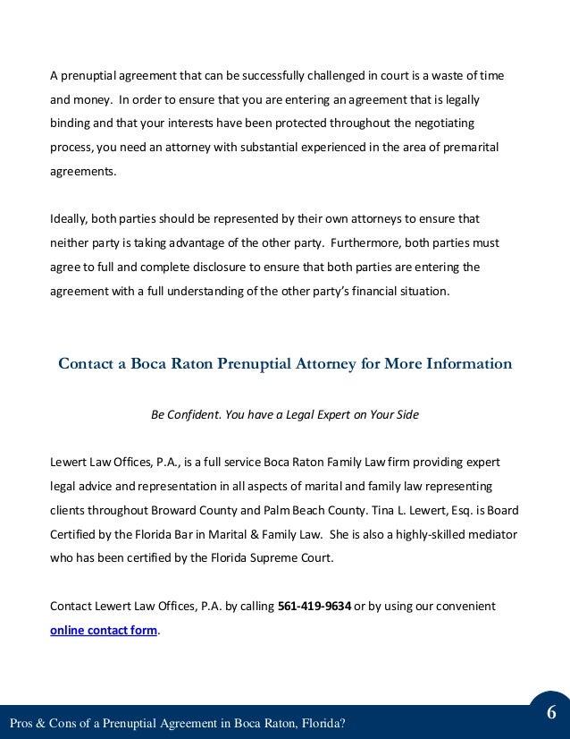 Pros Cons Of A Prenuptial Agreement In Boca Raton Florida
