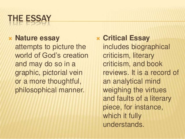 prose 7 the essay nature essay  critical