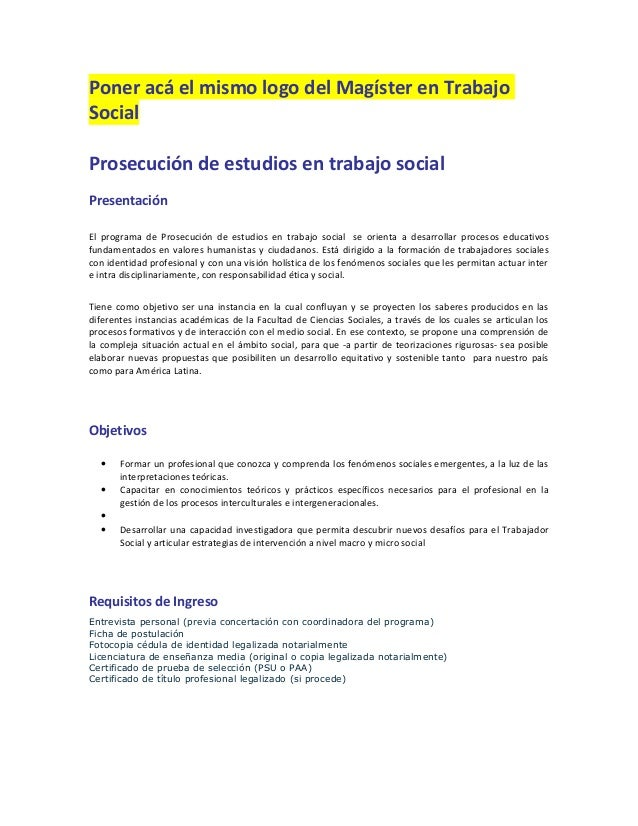 Poner acá el mismo logo del Magíster en TrabajoSocialProsecución de estudios en trabajo socialPresentaciónEl programa de P...
