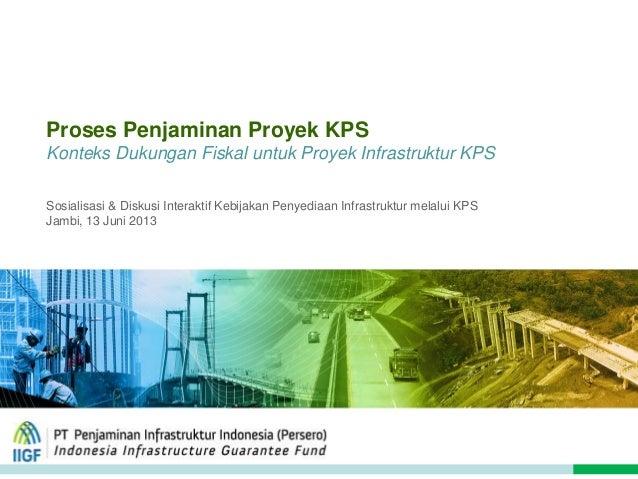 Proses Penjaminan Proyek KPS Konteks Dukungan Fiskal untuk Proyek Infrastruktur KPS Sosialisasi & Diskusi Interaktif Kebij...