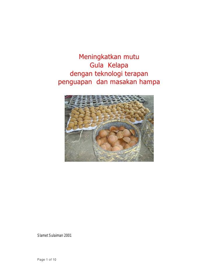 Meningkatkan mutu                        Gula Kelapa                   dengan teknologi terapan                penguapan d...