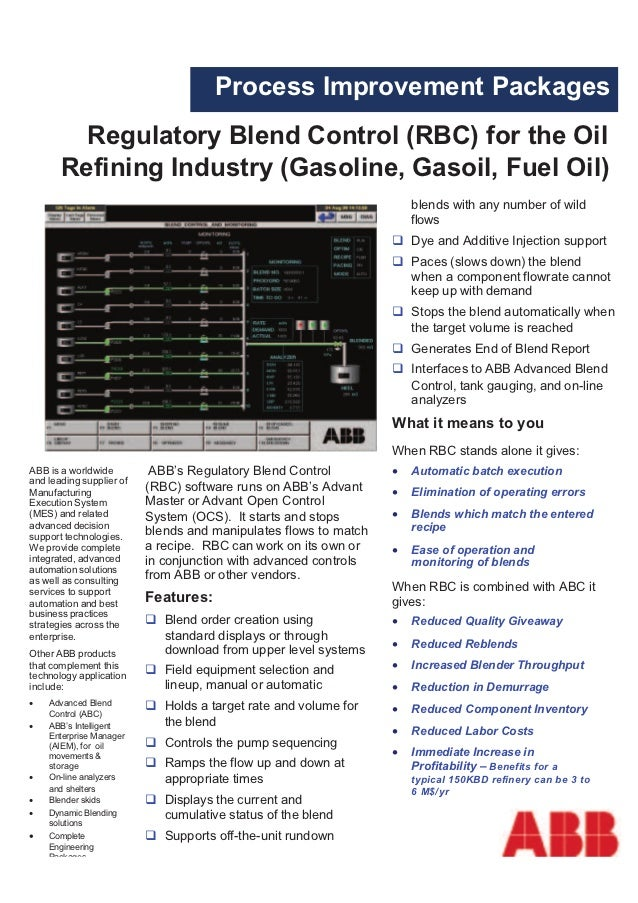 Process Improvement Packages         Regulatory Blend Control (RBC) for the Oil       Refining Industry (Gasoline, Gasoil,...
