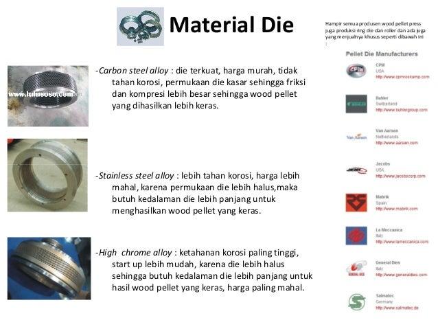 -Carbon steel alloy : die terkuat, harga murah, tidak tahan korosi, permukaan die kasar sehingga friksi dan kompresi lebih...
