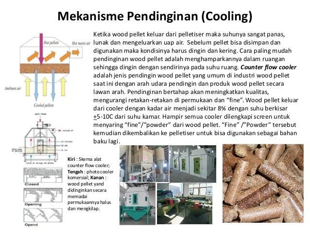 Mekanisme Pendinginan (Cooling) Ketika wood pellet keluar dari pelletiser maka suhunya sangat panas, lunak dan mengeluarka...