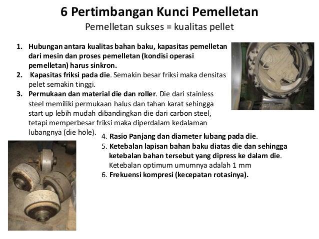 6 Pertimbangan Kunci Pemelletan Pemelletan sukses = kualitas pellet 1. Hubungan antara kualitas bahan baku, kapasitas peme...