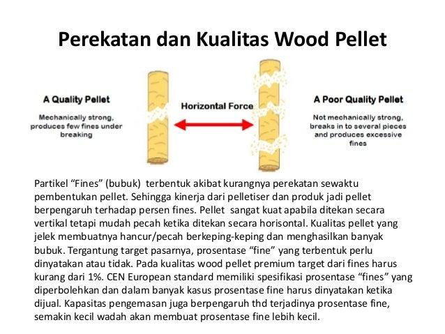 "Perekatan dan Kualitas Wood Pellet Partikel ""Fines"" (bubuk) terbentuk akibat kurangnya perekatan sewaktu pembentukan pelle..."