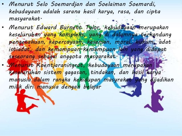 Koentjaraningrat (1985) menyebutkan ada tujuh unsur- unsur kebudayaan. Ia menyebutnya sebagai isi pokok kebudayaan. Ketuju...