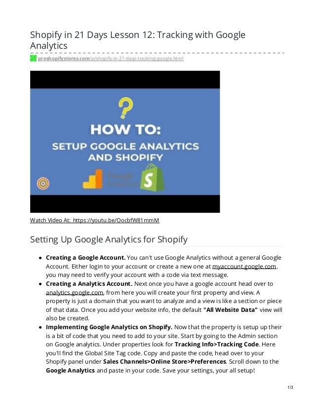 Shopify in 21 Days Lesson 12: Tracking with Google Analytics proshopifystores.com/p/shopify-in-21-days-tracking-google.htm...