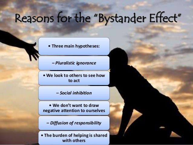 explaining the bystander effect View my literature usdocx from soc 111 at ashland university chapter 2 explaining bystander behaviour 21 introduction crime and its consequences can be said to be.