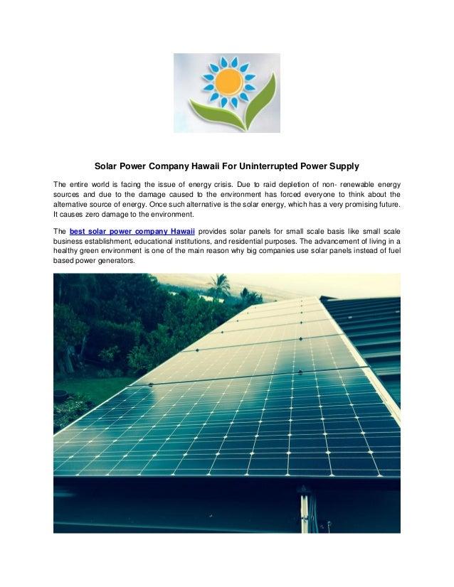 Best Solar Power Company Hawaii