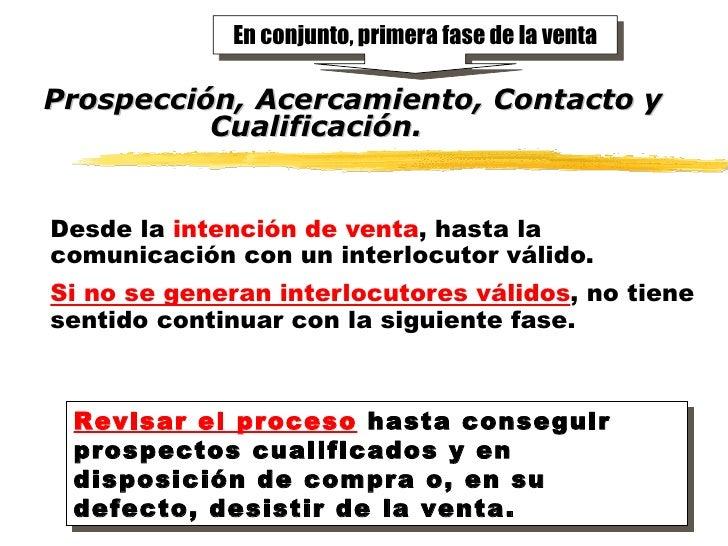 Prospección, Acercamiento, Contacto y Cualificación. Desde la   intención de venta , hasta la comunicación con un interloc...