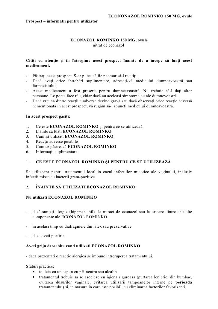 ECONONAZOL ROMINKO 150 MG, ovule Prospect – informatii pentru utilizator                                ECONAZOL ROMINKO 1...