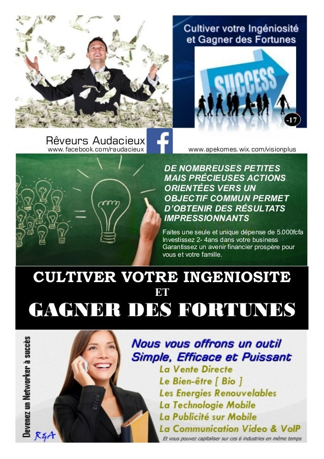 CULTIVER VOTRE INGENIOSITE ET GAGNER DES FORTUNES -17 www.facebook.com/raudacieux Rêveurs Audacieux DE NOMBREUSES PETITES ...