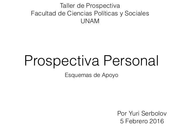 Prospectiva Personal Esquemas de Apoyo Por Yuri Serbolov 5 Febrero 2016 Taller de Prospectiva Facultad de Ciencias Polític...