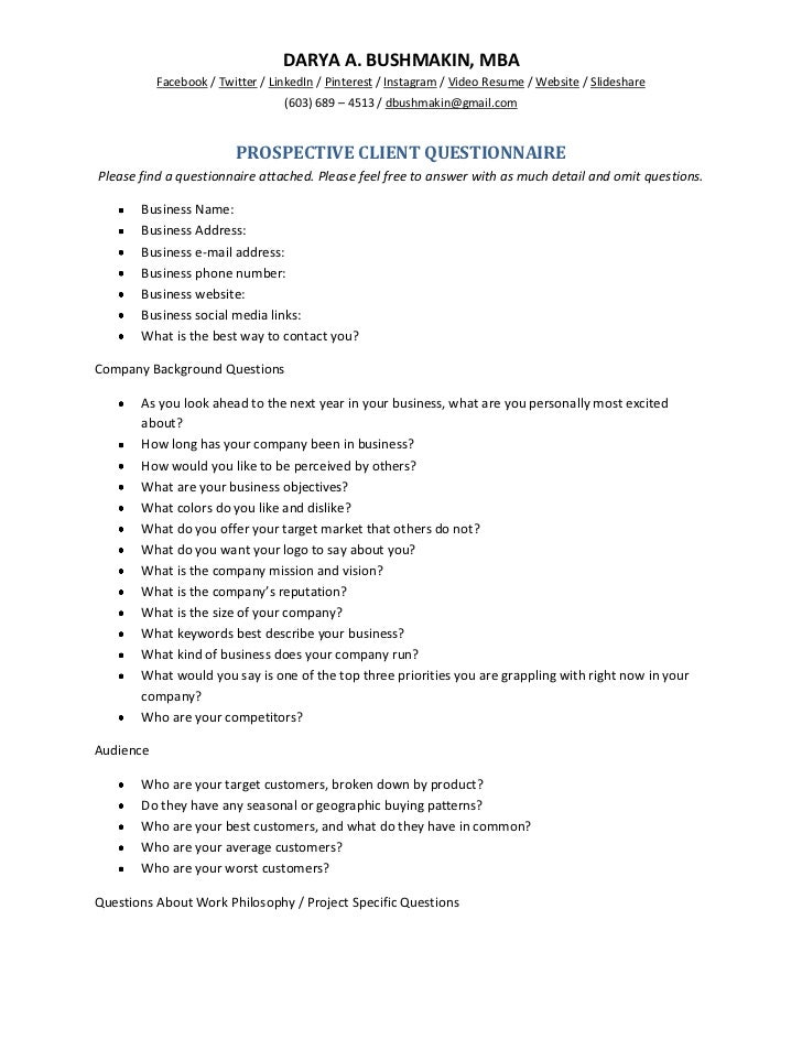 Prospective client questionnaire for New customer questionnaire template