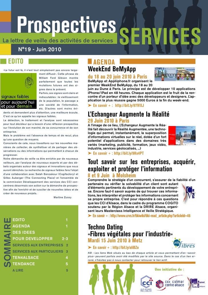 Prospectives La lettre de veille des activités de services              N°19 - Juin 2010                                  ...