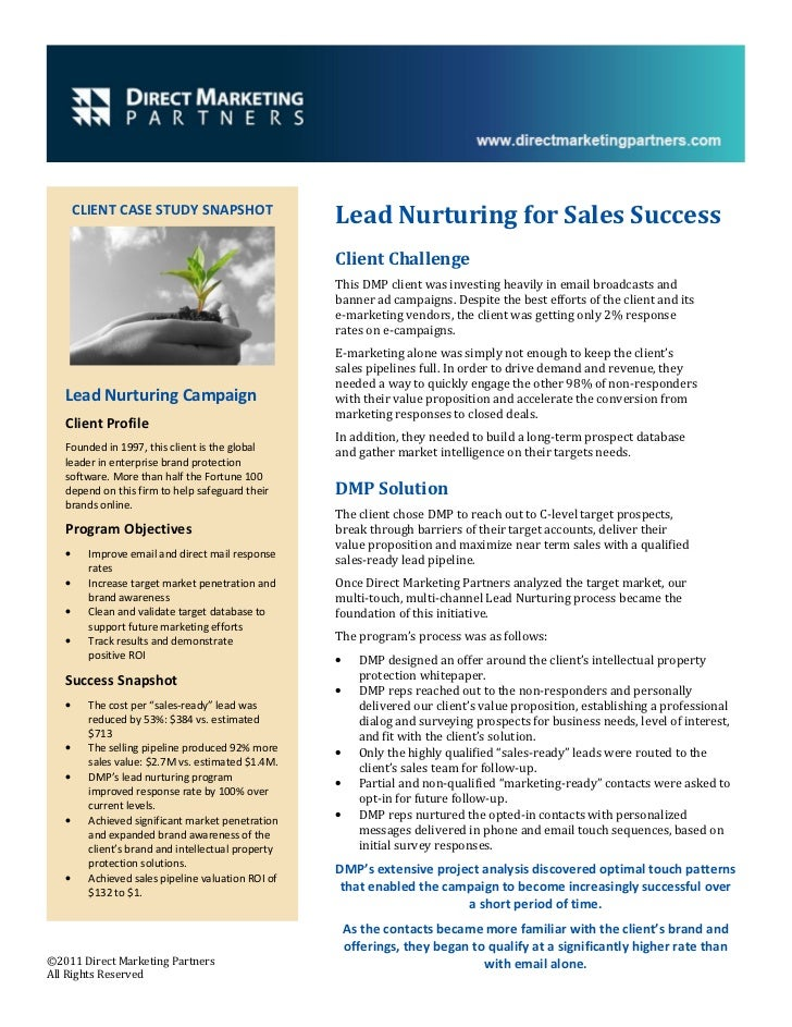CLIENT CASE STUDY SNAPSHOT                                                    Lead Nurturing for Sales Success            ...