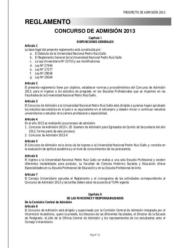 PROSPECTO DE ADMISIÓN 2013 Pág. N° 14 f. Asesorar a los postulantes durante todo el proceso de inscripción al Concurso de ...