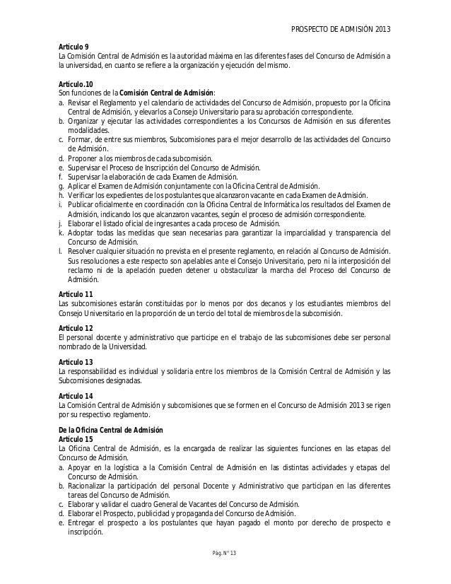 PROSPECTO DE ADMISIÓN 2013 Pág. N° 15 ingreso en caso de haberla obtenida, sin perjuicio de las acciones administrativas y...