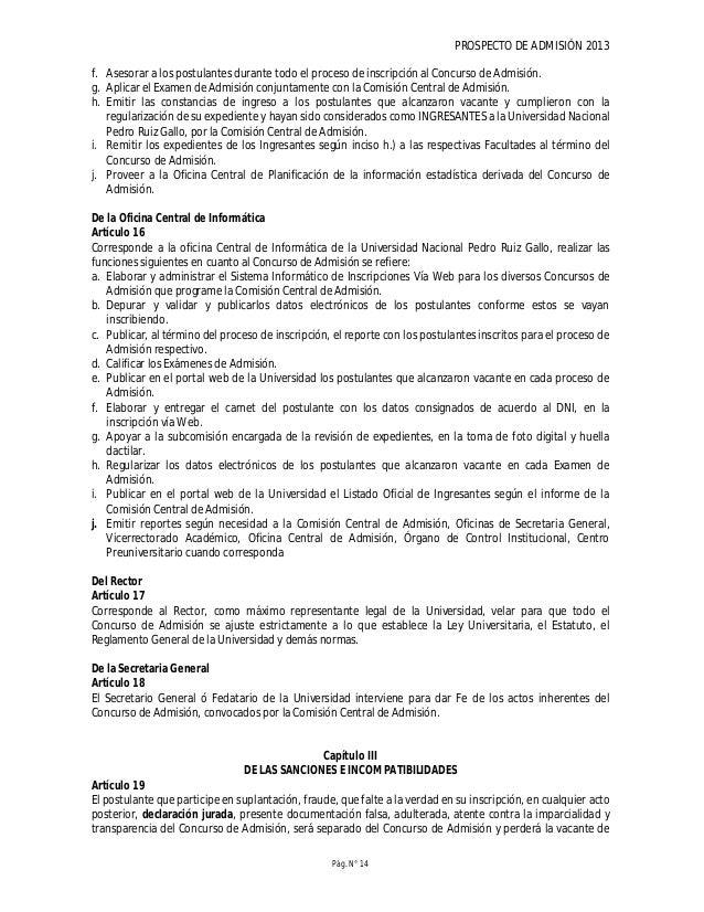 PROSPECTO DE ADMISIÓN 2013 Pág. N° 16 Cuadro: Escuelas Profesionales por Grupo de Postulación Grupo Escuela Profesional Gr...