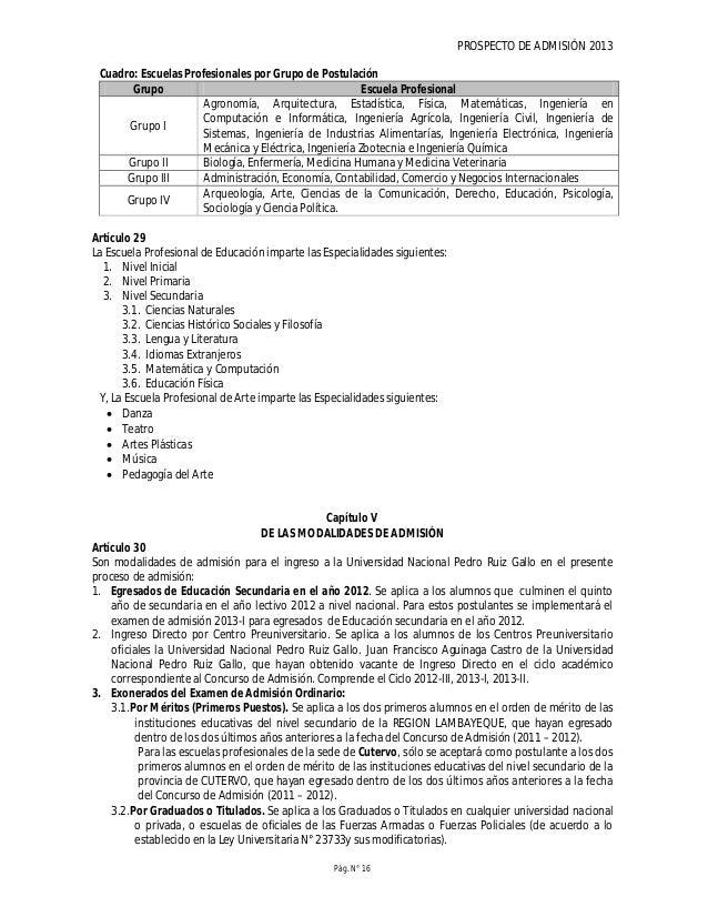 PROSPECTO DE ADMISIÓN 2013 Pág. N° 18 b. Recibo de pago por derechos de, prospecto, de inscripción, del postulante al Conc...