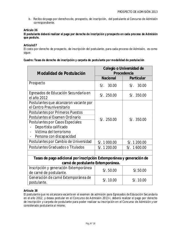 PROSPECTO DE ADMISIÓN 2013 Pág. N° 20 a. Ingresar número de recibo de pago (voucher). b. Ingresar número de agencia del Ba...