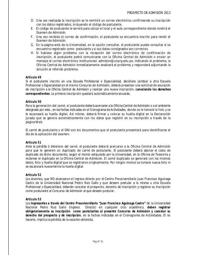 PROSPECTO DE ADMISIÓN 2013 Pág. N° 23 Todos los postulantes por la modalidad de Examen de Exonerados deberán presentarse a...