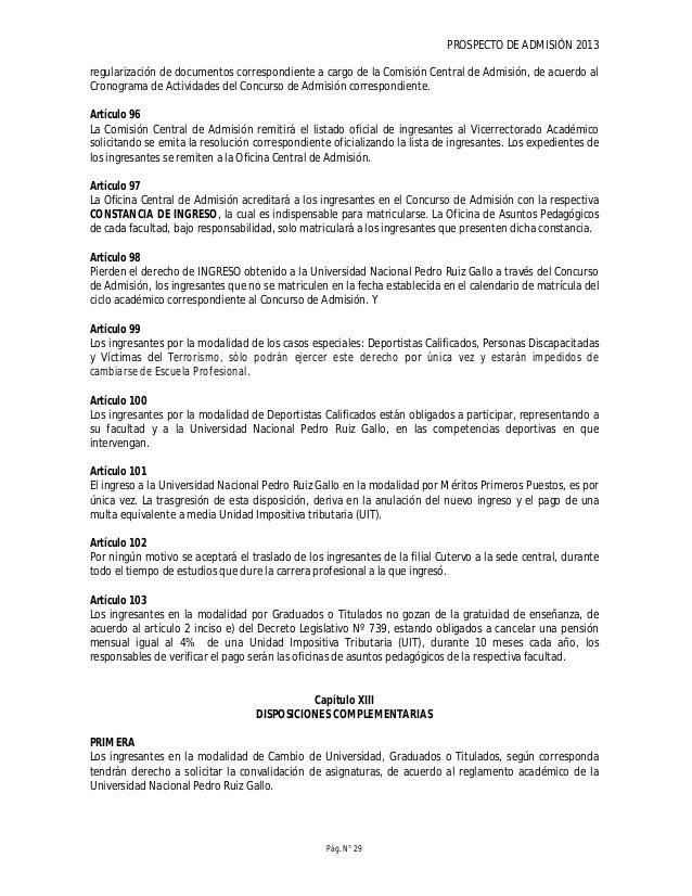 PROSPECTO DE ADMISIÓN 2013 Pág. N° 31 FACULTADES Y ESCUELAS PROFESIONALES Facultad de Agronomía Escuela Profesional de Agr...